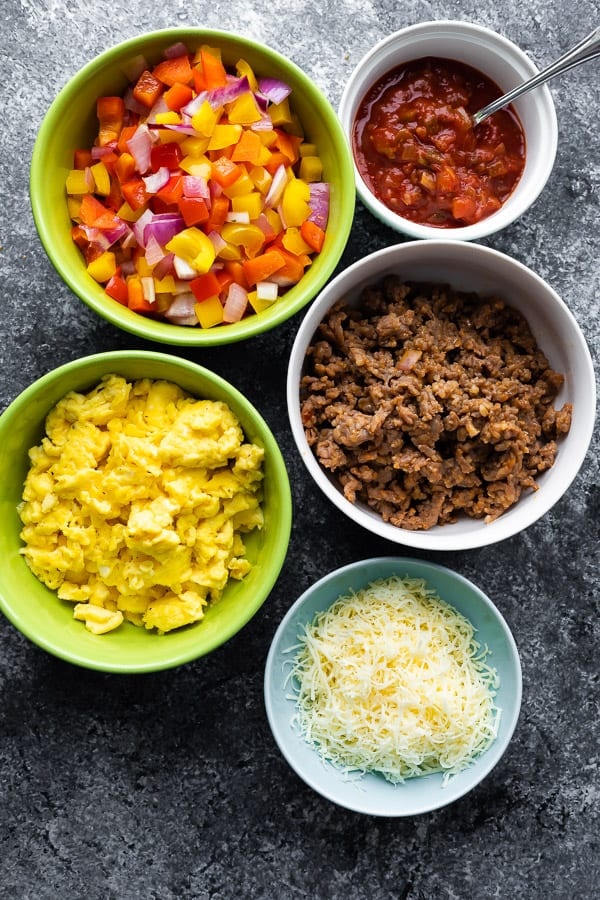 ingredients for egg taco in bowls