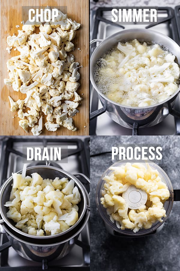 collage image showing how to make mashed cauliflower
