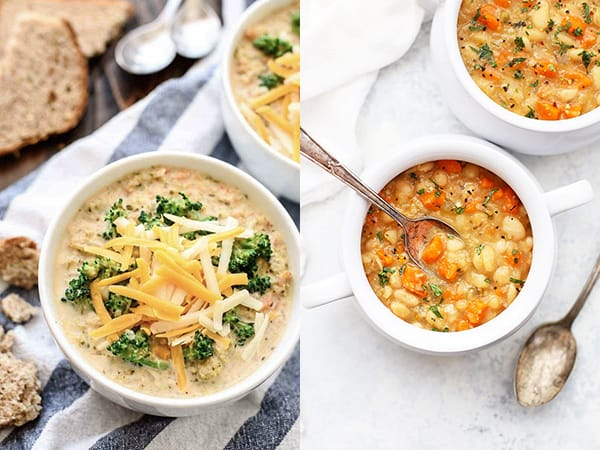 collage image with slow cooker soup recipe