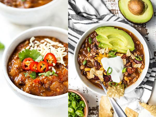 collage image with two slow cooker chili recipes