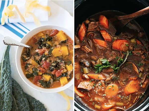 collage image with two crockpot stew recipe ideas