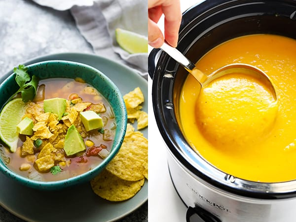 collage image with crockpot soup