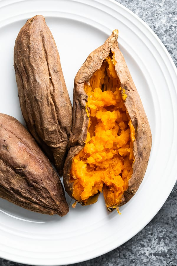 slow cooker sweet potatoes on plate after cooking