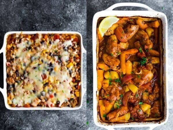 collage image of Healthy Freezer Casseroles