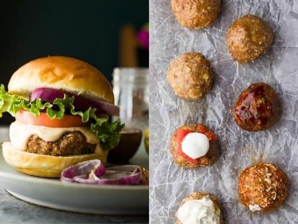 collage image of Meatballs, Meatloaf and Burgers