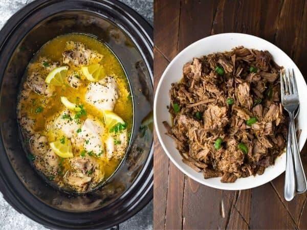 collage image of Crockpot Freezer Meals