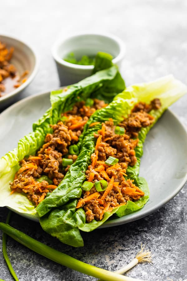 ground turkey instant pot lettuce wraps on plate