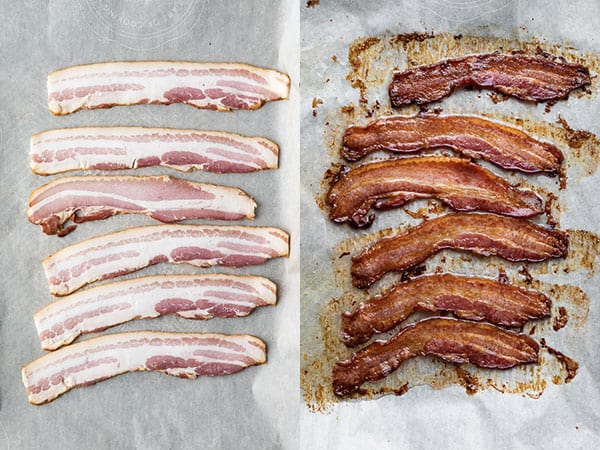 before and after of baked bacon