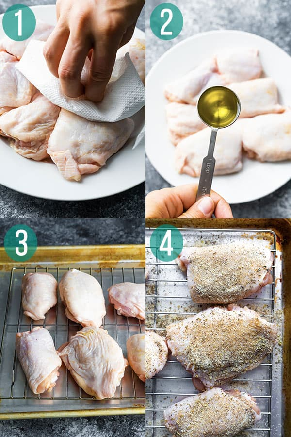 collage image showing how to make baked chicken thighs recipe