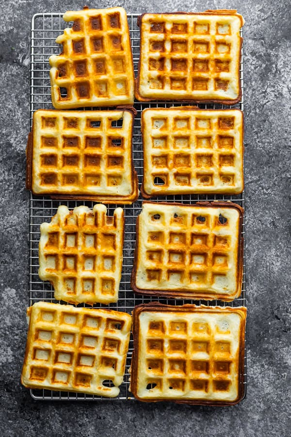 overhead view of crispy waffle recipe on wire rack