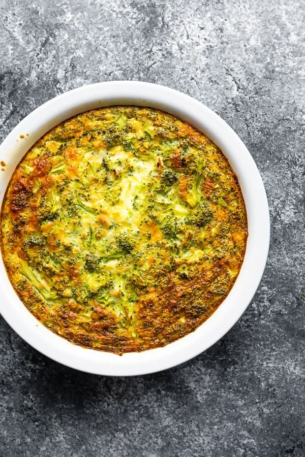 overhead view of broccoli cheese crustless quiche after baking