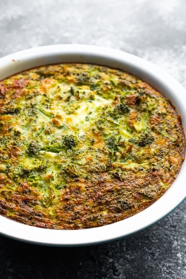 crustless quiche in a pie plate after baking