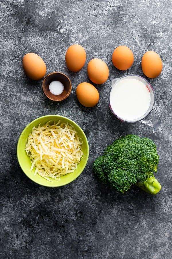 overhead view of crustless quiche recipe ingredients