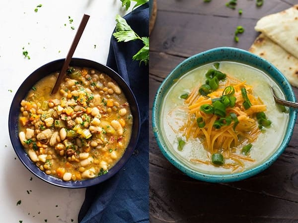 collage image with homemade soup recipes