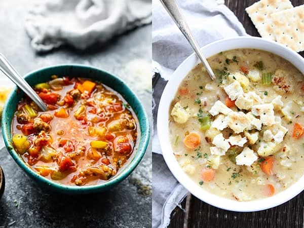 collage image with easy soup recipes