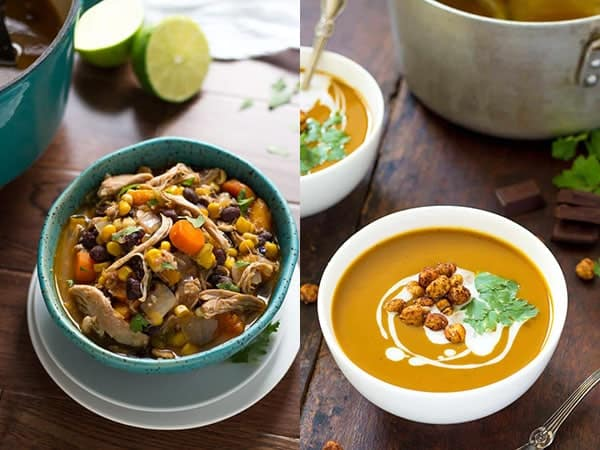 collage image with healthy soup recipes
