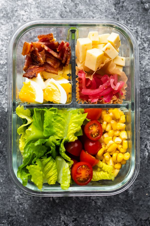 Mexican Cobb Salad in 3 compartment meal prep container