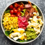 overhead shot of mexican cobb salad in large bowl
