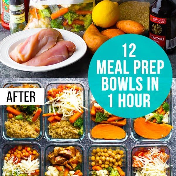 collage image of 12 meal prep bowls that are ready in 1 hour