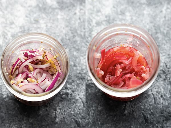 before and after collage of quick pickled onions