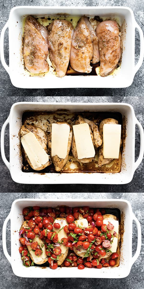 collage image showing the process of making bruschetta chicken bake