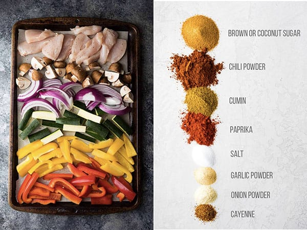 collage image showing the ingredients used for baked chicken fajitas