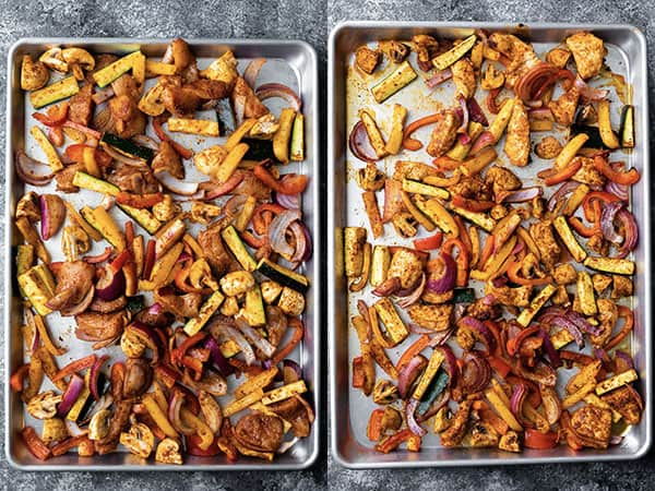 chicken fajitas oven recipe on sheet pan before and after baking