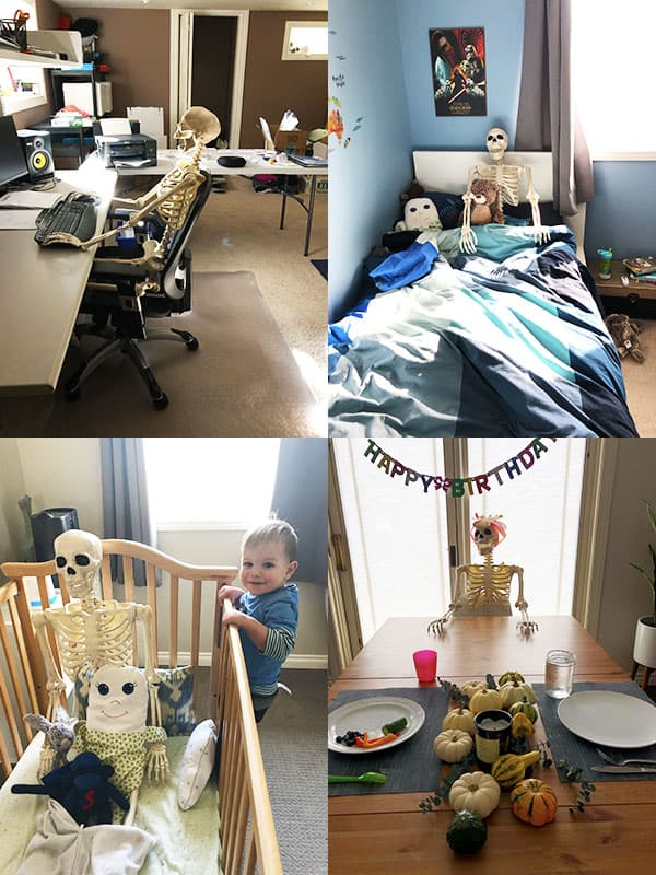 collage image of various rooms in Denise\'s house with a skeleton for halloween