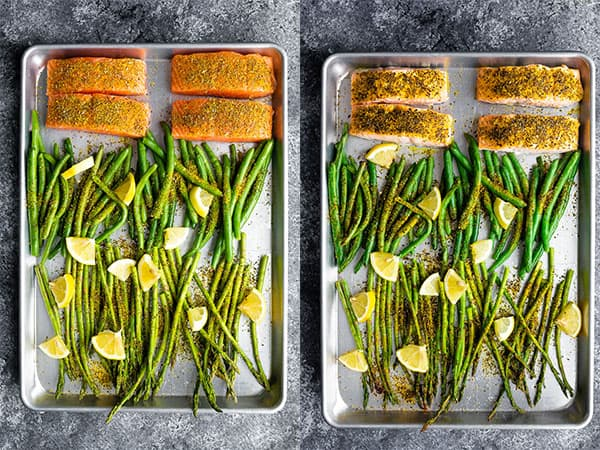 collage image of baked salmon sheet pan before and after baking