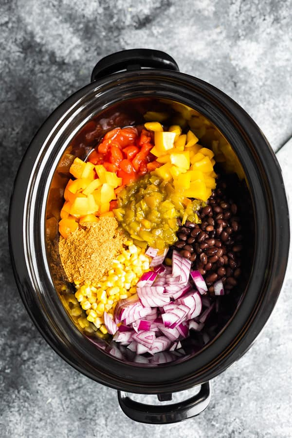 overhead shot of ingredients for the taco soup in crockpot