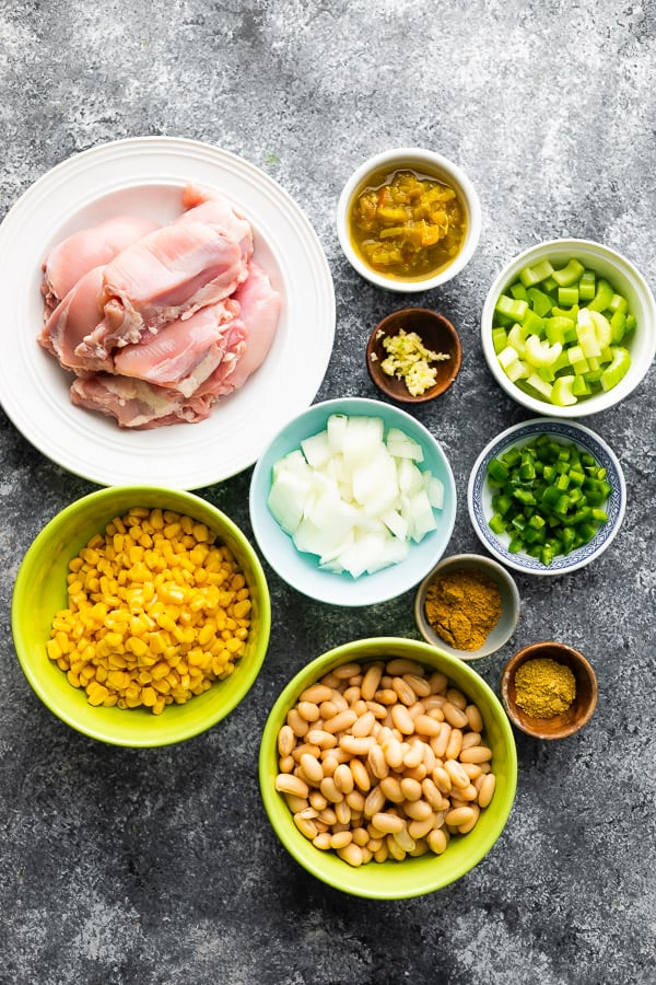 overhead view of ingredients required for slow cooker white chicken chili