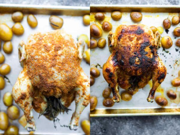 overhead view of crockpot whole roasted chicken before and after broiling