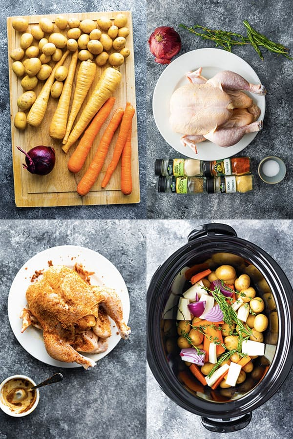 collage image showing how to prepare the slow cooker whole chicken with vegetables