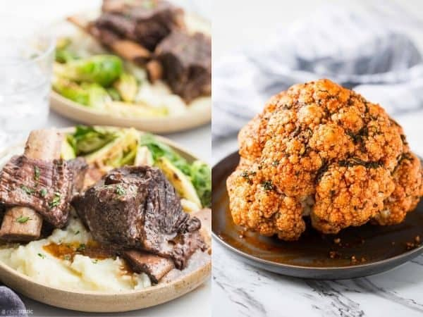 collage image with Thanksgiving Instant Pot Main Course Dishes