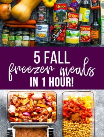 collage image of foods with text overlay saying 5 fall freezer meals in 1 hour