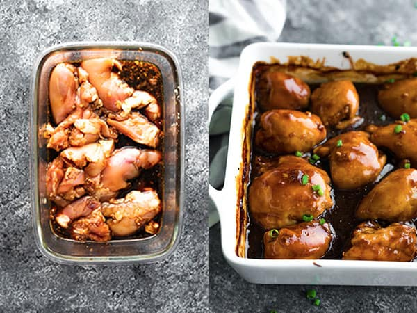 honey garlic chicken before and after