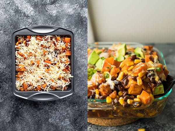 butternut squash enchilada casserole before and after