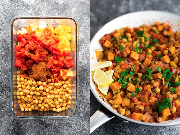moroccan chickpea skillet before and after
