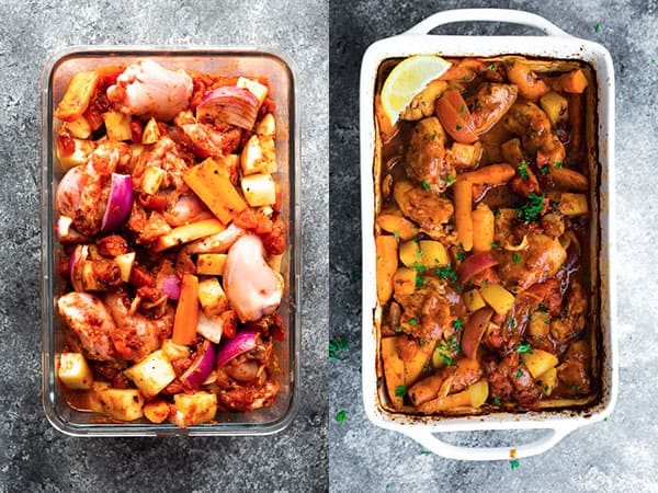portuguese chicken bake before and after