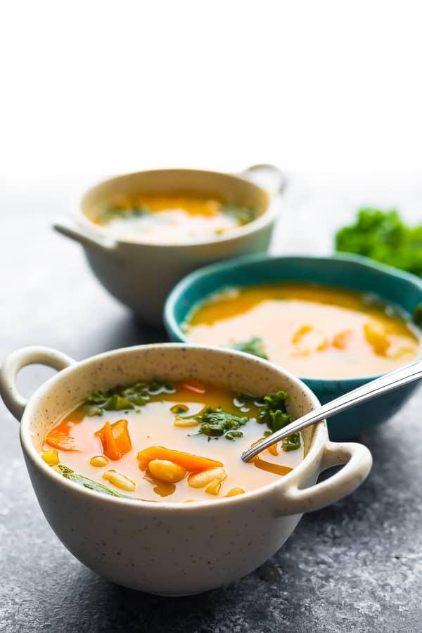 three bowls of white bean soup