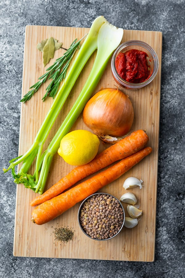overhead view of ingredients used in this lentil soup recipe