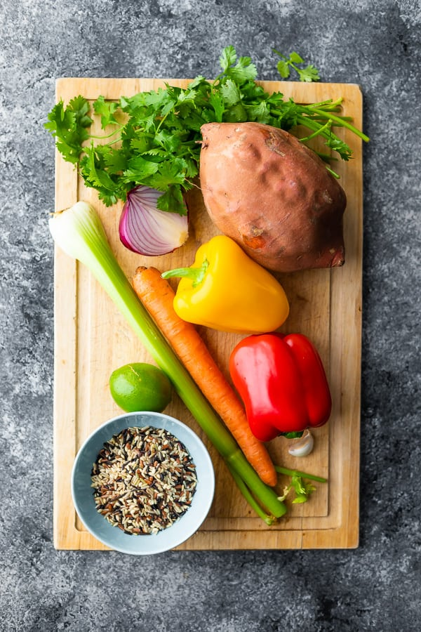 overhead view of ingredients used in sweet potato salad recipe