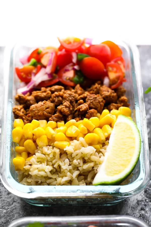 close up view of Turkey Taco Meal Prep Bowls in meal prep container