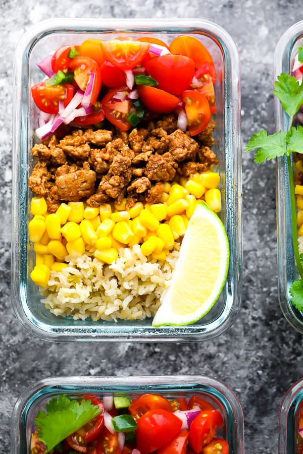 close up overhead view of Turkey Taco Meal Prep Bowls