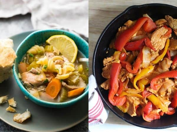 collage image with crockpot freezer meals