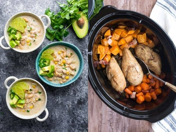 collage image with slow cooker freezer meals