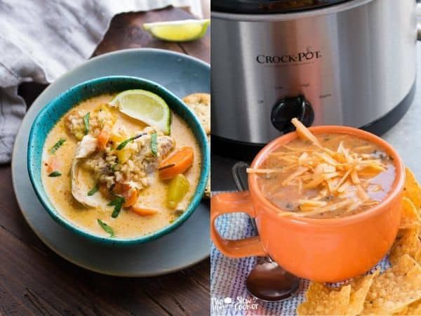 collage image with make ahead freezer slow cooker meals