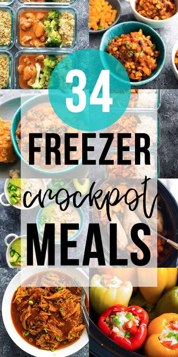 collage image with 34 crockpot freezer meals images