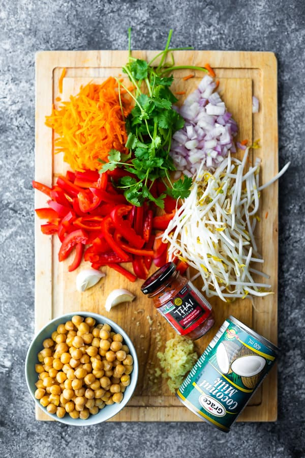 ingredients used in the curry soup on a cutting board