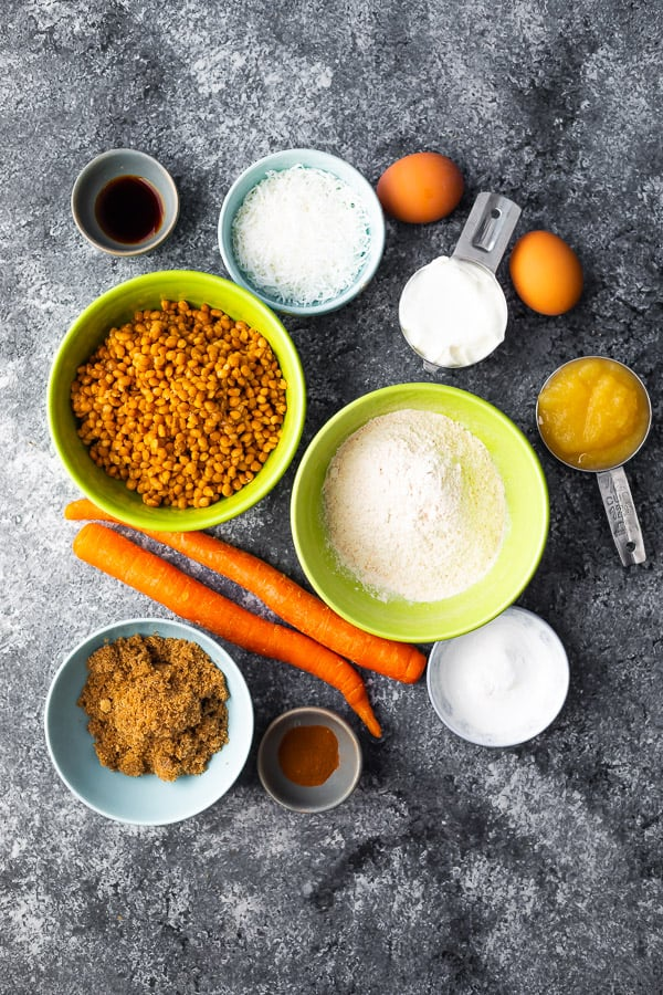 overhead shot of ingredients required for protein muffin recipe